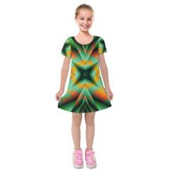 Farbenpracht Kaleidoscope Kids  Short Sleeve Velvet Dress by Pakrebo