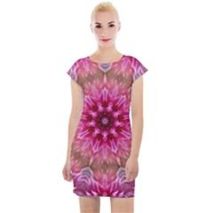 Flower Mandala Art Pink Abstract Cap Sleeve Bodycon Dress