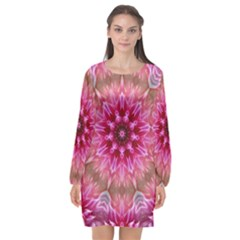 Flower Mandala Art Pink Abstract Long Sleeve Chiffon Shift Dress