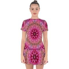 Flower Mandala Art Pink Abstract Drop Hem Mini Chiffon Dress