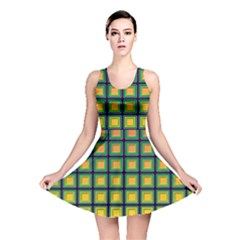Tile Background Image Pattern Squares Reversible Skater Dress