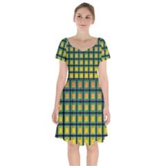 Tile Background Image Pattern Squares Short Sleeve Bardot Dress
