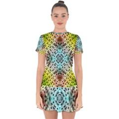 Farbenpracht Kaleidoscope Drop Hem Mini Chiffon Dress by Pakrebo