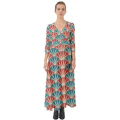 Seamless Patter Peacock Feathers Button Up Boho Maxi Dress