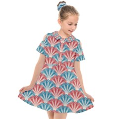 Seamless Patter Peacock Feathers Kids  Short Sleeve Shirt Dress by Pakrebo