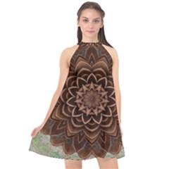 Abstract Art Texture Mandala Halter Neckline Chiffon Dress