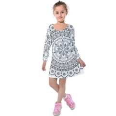 Vector Mandala Drawing Decoration Kids  Long Sleeve Velvet Dress by Pakrebo