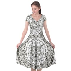 Vector Mandala Drawing Decoration Cap Sleeve Wrap Front Dress