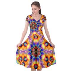 Image Fractal Background Image Cap Sleeve Wrap Front Dress