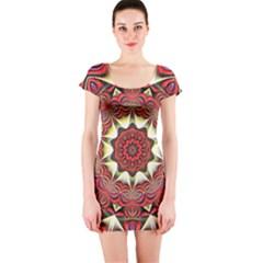 Farbenpracht Kaleidoscope Arts Short Sleeve Bodycon Dress by Pakrebo