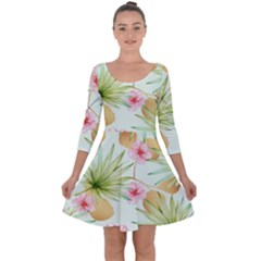 Fancy Tropical Pattern Quarter Sleeve Skater Dress by tarastyle