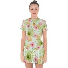 Fancy Tropical Pattern Drop Hem Mini Chiffon Dress