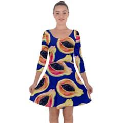 Fancy Tropical Pattern Quarter Sleeve Skater Dress by tarastyle