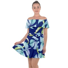 Fancy Tropical Pattern Off Shoulder Velour Dress by tarastyle