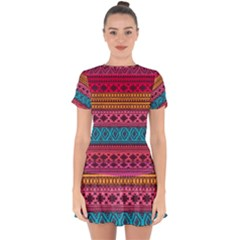 Fancy Colorful Mexico Inspired Pattern Drop Hem Mini Chiffon Dress