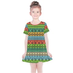 Fancy Colorful Mexico Inspired Pattern Kids  Simple Cotton Dress