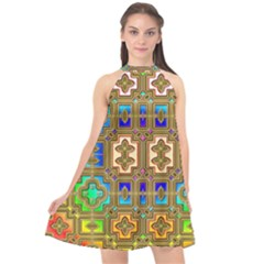 Background Image Tile Geometric Halter Neckline Chiffon Dress  by Pakrebo
