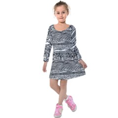 Ethno Seamless Pattern Kids  Long Sleeve Velvet Dress