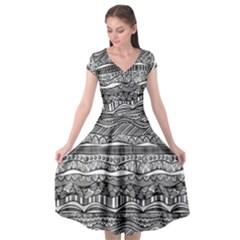 Ethno Seamless Pattern Cap Sleeve Wrap Front Dress