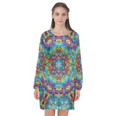 Background Image Wallpaper Long Sleeve Chiffon Shift Dress