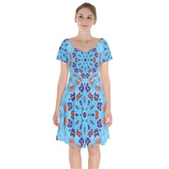 Farbenpracht Kaleidoscope Short Sleeve Bardot Dress by Pakrebo