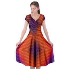Background Fractals Surreal Design Cap Sleeve Wrap Front Dress