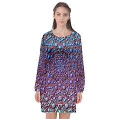 Tile Background Image Pattern 3d Long Sleeve Chiffon Shift Dress