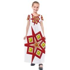 Pattern Tile Decorative Design Star Kids  Short Sleeve Maxi Dress by Pakrebo