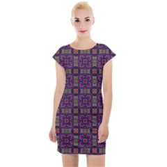 Tile Pattern Background Image Purple Cap Sleeve Bodycon Dress by Pakrebo