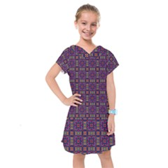 Tile Pattern Background Image Purple Kids  Drop Waist Dress by Pakrebo