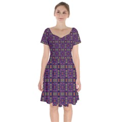 Tile Pattern Background Image Purple Short Sleeve Bardot Dress