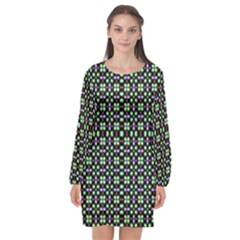 Background Image Pattern Long Sleeve Chiffon Shift Dress  by Pakrebo