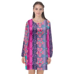 Fancy Colorful Mexico Inspired Pattern Long Sleeve Chiffon Shift Dress  by tarastyle