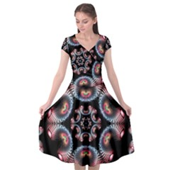 Ornament Kaleidoscope Cap Sleeve Wrap Front Dress by Pakrebo