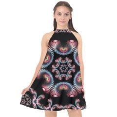 Ornament Kaleidoscope Halter Neckline Chiffon Dress
