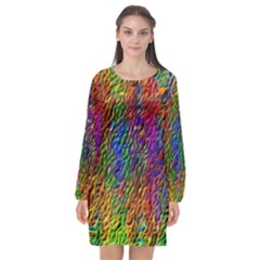Background Image Ornament Long Sleeve Chiffon Shift Dress