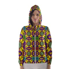 Background Image Geometric Hooded Windbreaker (women) by Pakrebo