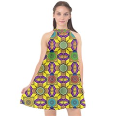 Background Image Geometric Halter Neckline Chiffon Dress  by Pakrebo