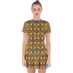 Background Image Geometric Drop Hem Mini Chiffon Dress