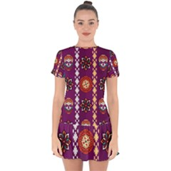 Fancy Colorful Mexico Inspired Pattern Drop Hem Mini Chiffon Dress by tarastyle