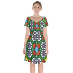 Mandala Background Colorful Pattern Short Sleeve Bardot Dress by Pakrebo
