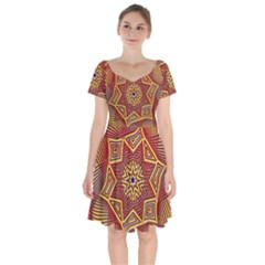 Tile Background Pattern Backgrounds Short Sleeve Bardot Dress