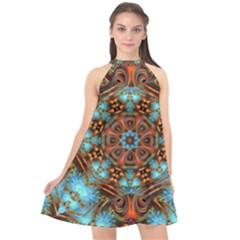 Fractal Background Colorful Graphic Halter Neckline Chiffon Dress