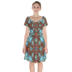 Fractal Background Colorful Graphic Short Sleeve Bardot Dress
