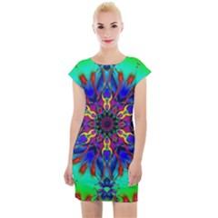 Fractal Art Pictures Digital Art Cap Sleeve Bodycon Dress