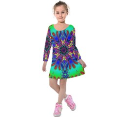 Fractal Art Pictures Digital Art Kids  Long Sleeve Velvet Dress by Pakrebo