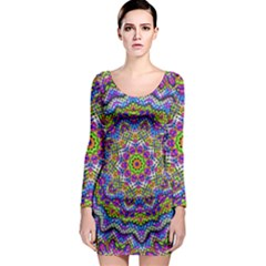 Farbenpracht Kaleidoscope Long Sleeve Bodycon Dress by Pakrebo