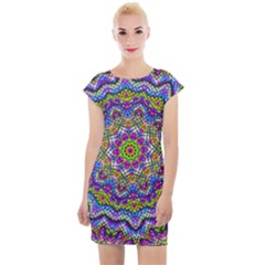 Farbenpracht Kaleidoscope Cap Sleeve Bodycon Dress by Pakrebo