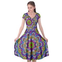 Farbenpracht Kaleidoscope Cap Sleeve Wrap Front Dress