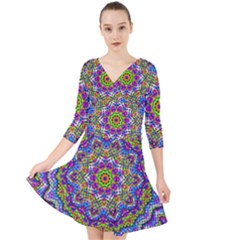 Farbenpracht Kaleidoscope Quarter Sleeve Front Wrap Dress